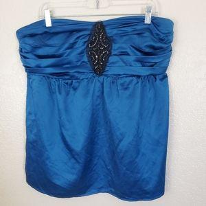 Torrid Satin Blue Strapless Beaded Tube Top